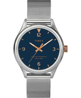 Montre femme Waterbury Traditional 34mm bracelet à milanaise Acier inoxydable/Argenté/Bleu large