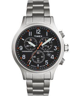 Montre chronomètre Allied 42mm Bracelet en acier inoxydable Argenté/Acier inoxydable/Noir large