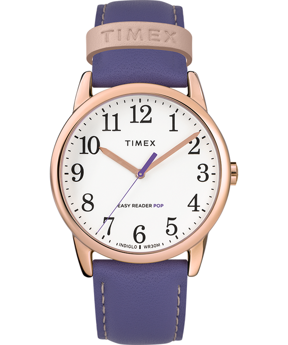 Easy-Reader-38mm-Exclusive-Color-Pop-Leather-Womens-Watch Or rose/Violet/Blanc large