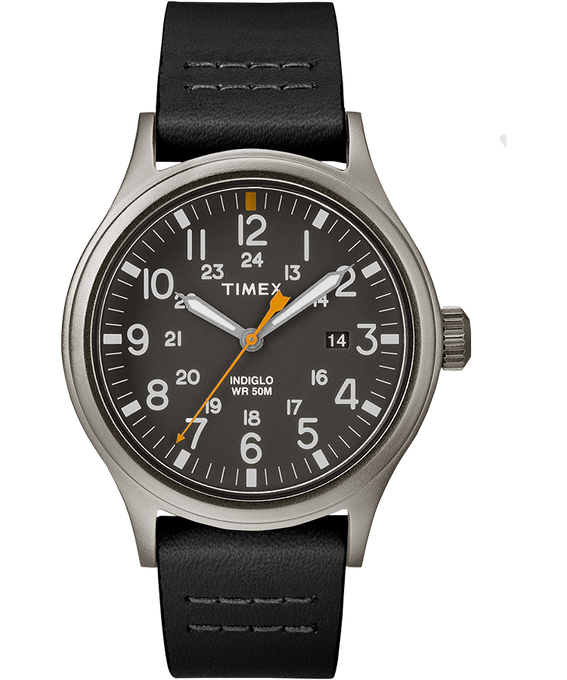 Allied 40mm Leather Watch Gray/Black large