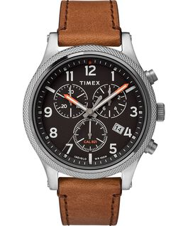 Montre chronomètre Allied LT 42mm avec bracelet en cuir Argenté/Marron/Noir large
