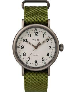 Montre Standard 40mm bracelet en tissu Noir/Vert/Naturel large
