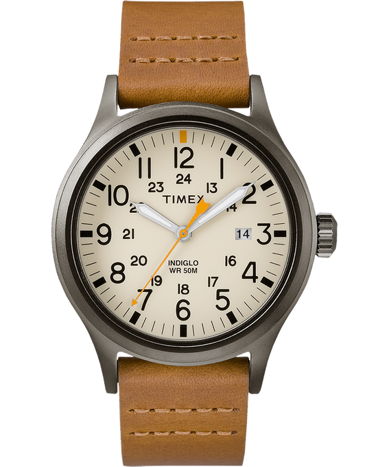 Allied 40mm Leather Watch Gray/Brown/Natural large