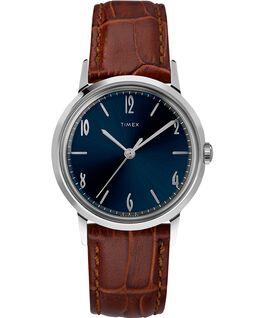 Montre Marlin 34mm Mécanique à remontage manuel avec bracelet en cuir Stainless-Steel/Brown/Blue large