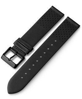 Bracelet en cuir perforé à dégagement rapide 20mm Noir large
