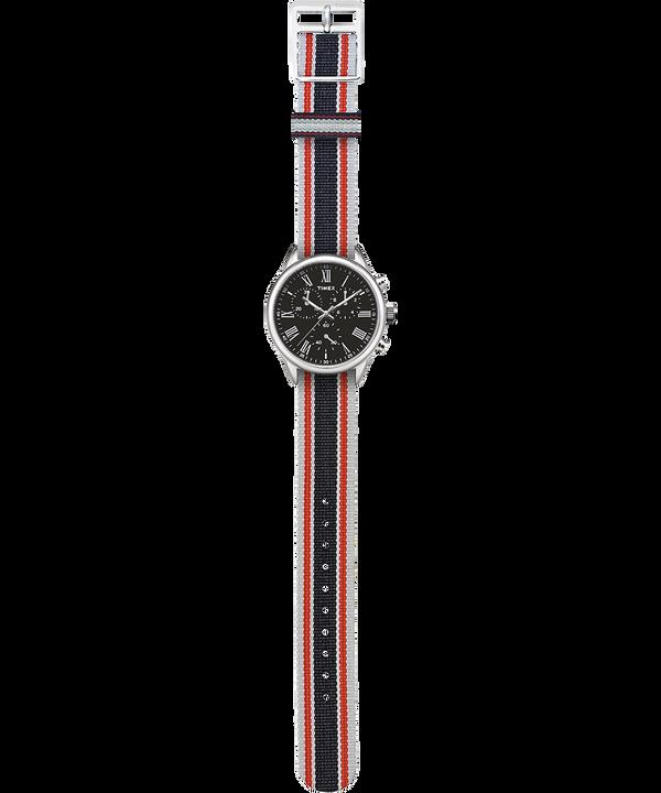 Montre Weston Avenue 38mm Bracelet en gros-grain Acier inoxydable/Noir large