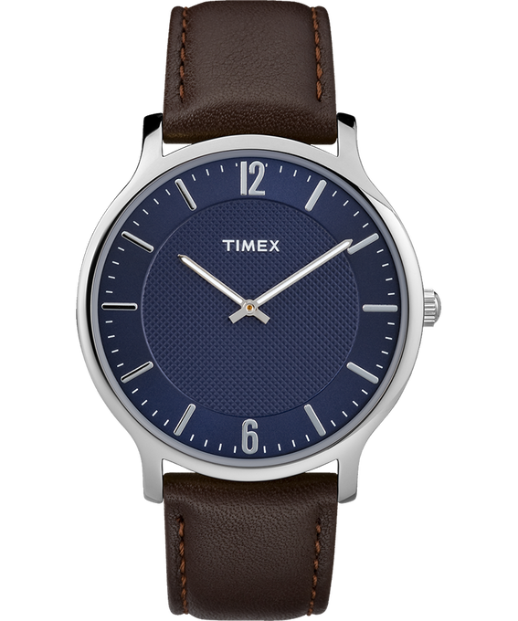 Metropolitan Mens 40mm Leather Watch Silver-Tone/Brown/Blue large