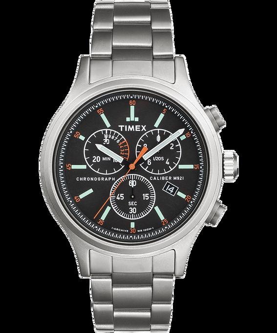 Montre chronomètre Allied 42mm Bracelet en acier inoxydable avec repères des heures Argenté/Acier inoxydable/Noir large