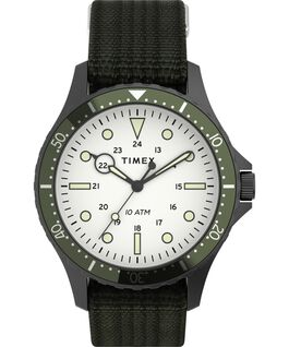 Navi XL 41mm Fabric Slip Thru Strap Watch Gunmetal/Green/White large