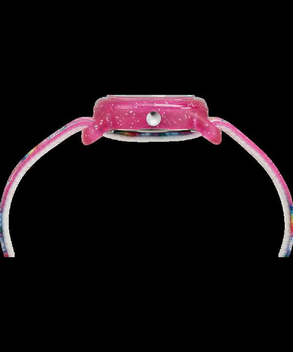 Montre Kids Analog 28mm Bracelet en tissu élastique Pink/White large