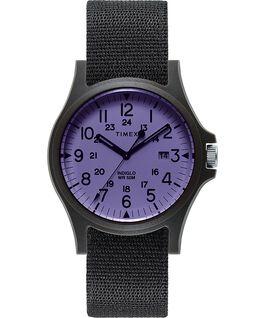 Montre Acadia 40mm Bracelet en tissu Noir/Violet large