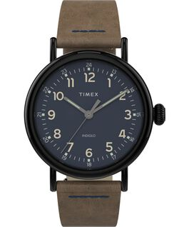 Montre Standard en cuir 40 mm Gunmetal/Brown large