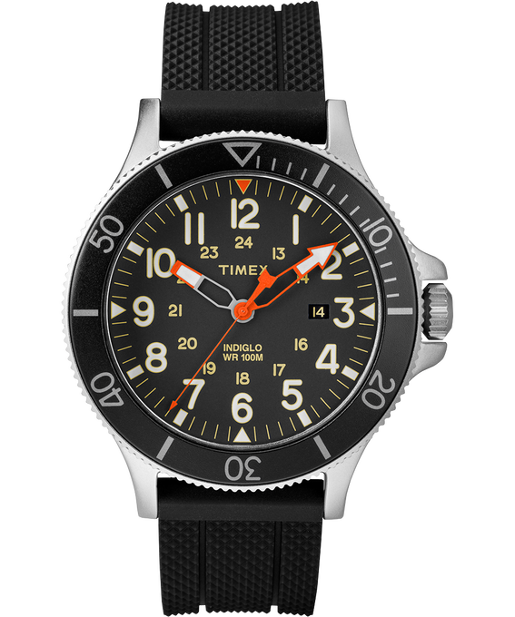 Allied Coastline 43mm Silicone Strap Watch Silver-Tone/Black/Blue large