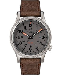 Montre Allied LT 40 mm avec bracelet en cuir Argenté/Marron/Gris large