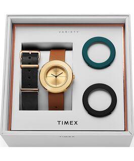 Coffret montre à bracelet en cuir Variety 34mm Doré/Brun large