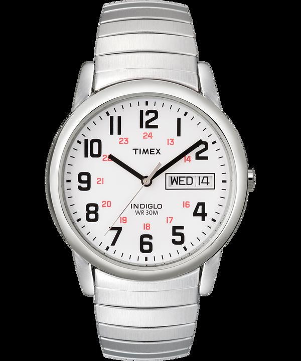 Montre Easy Reader 35mm Jour, Date et Bracelet extensible Silver-Tone/Stainless-Steel/White large